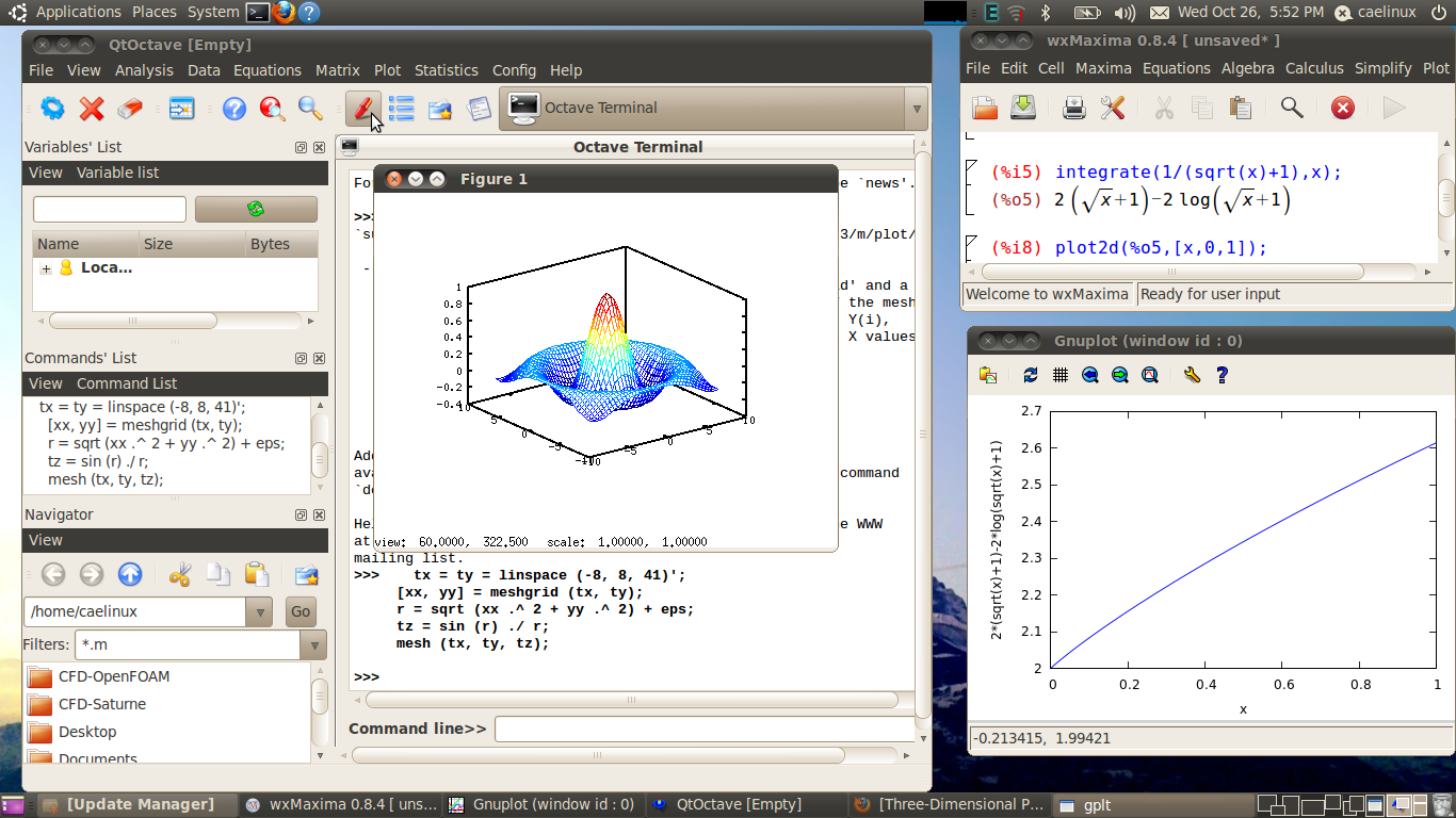 Mathermatical modeling using QtOctave and wxMaxima